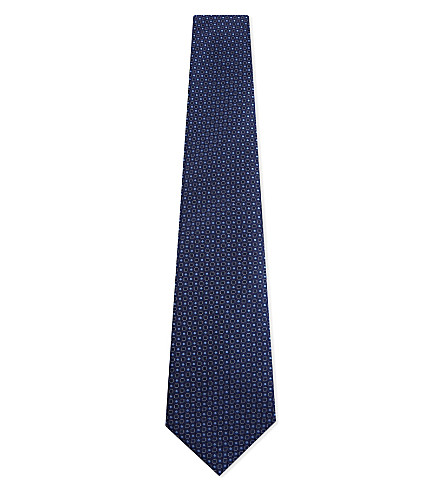 CANALI Spotted geometric tile print silk tie (Blue