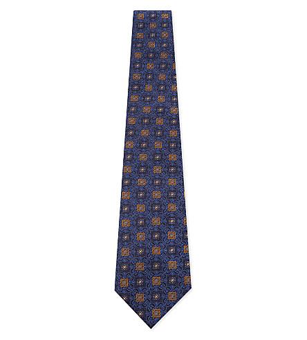 CANALI Geometric tile silk tie (Blue