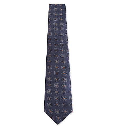 CANALI Large tile silk tie (Blue