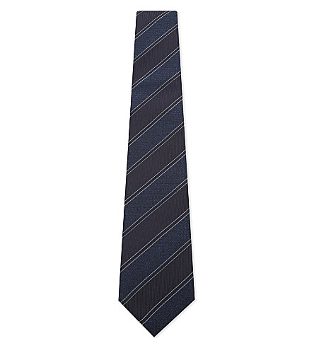 CANALI Silk diagonal stripe tie (Navy