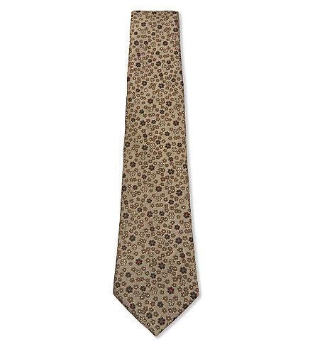 CANALI Multi-flower silk tie (Gold
