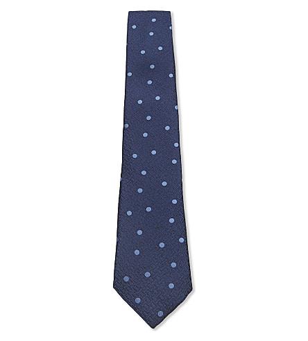 CANALI Silk polka dot tie (Blue