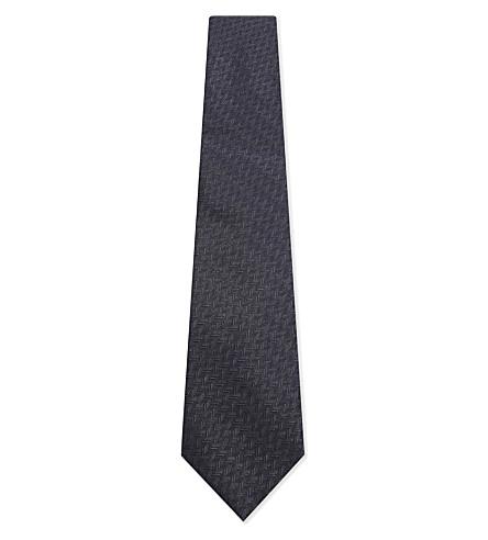 CANALI Herringbone silk tie (Navy
