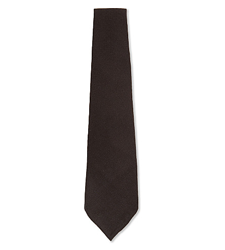 CANALI Solid woven silk-cashmere tie (Burgundy