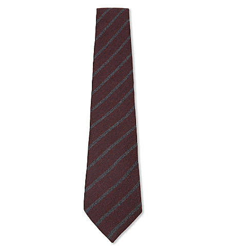 CANALI Silk and cashmere brushed stripe tie (Burgundy