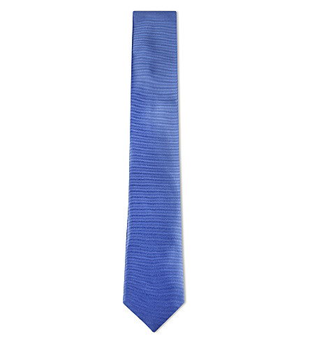 CANALI Solid twill silk tie (Light+blue