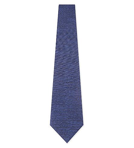 CANALI Solid textured silk tie (Blue