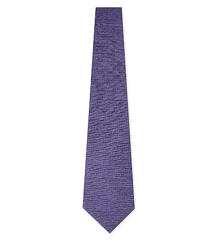 CANALI Solid textured silk tie (Lilac