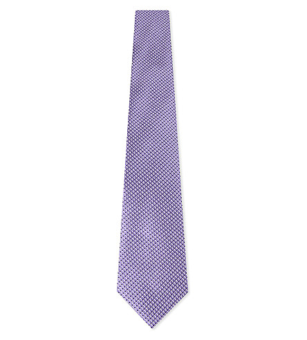 CANALI Pipe print silk tie (Lilac