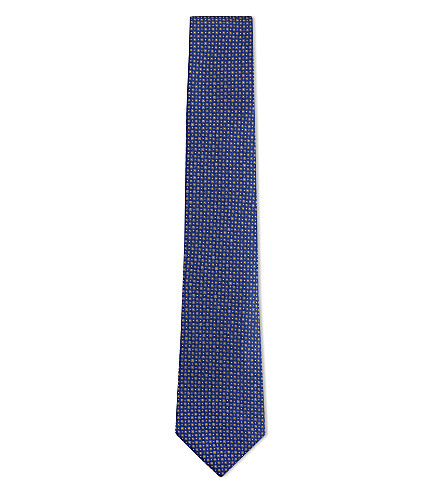 CANALI Spotted silk tie (Blue/gold