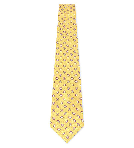 CANALI Floral and paisley silk tie (Gold