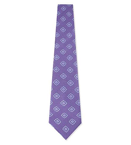 CANALI Flower silk tie (Lilac