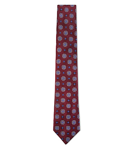 CANALI Flower and tile silk tie (Burgundy
