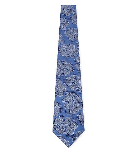 CANALI Paisley print silk tie (Blue