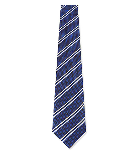 CANALI Striped silk tie (Blue