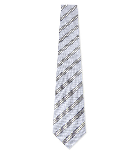 CANALI Striped silk tie (Light+blue