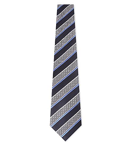 CANALI Striped silk tie (Navy