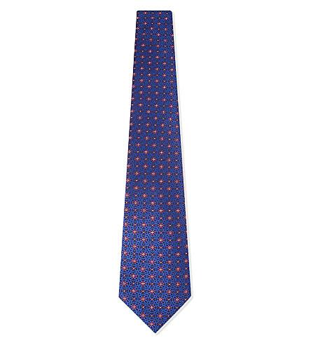 CANALI Flower cross silk tie (Navy