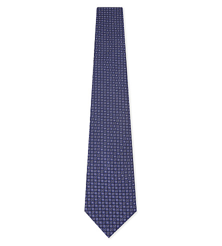 CANALI 奖章丝绸领带 (海军