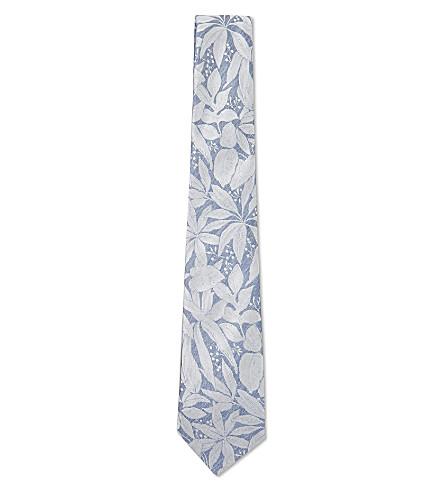 CANALI Floral pattern silk tie (Blue