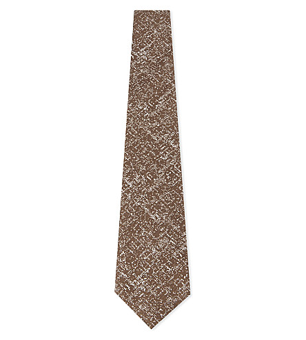 CANALI Textured speckle print silk tie (Green