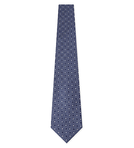 CANALI Spotted silk tie (Blue