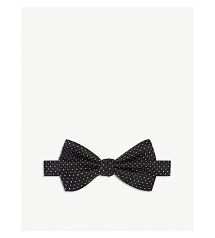 CANALI Tile pattern silk bow tie (Black