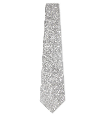 CANALI Speckled silk tie (Silver
