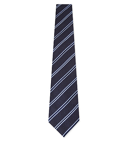 CANALI Textured stripe silk tie (Navy