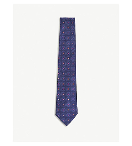 CANALI Diamond flower silk tie (Navy/red
