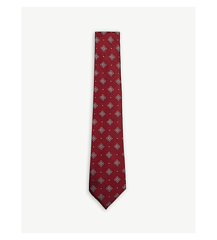 CANALI Floral squares silk tie (Red