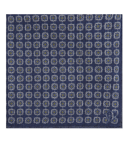 CANALI Floral tile wool pocket square (Navy