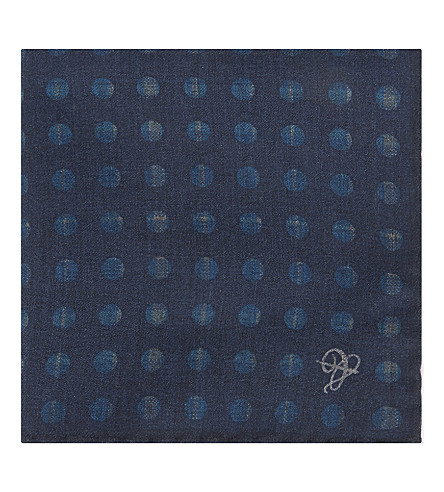 CANALI Polka dot wool pocket square (Blue