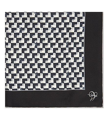 CANALI Arrowhead print silk pocket square (Black