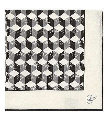 CANALI Geometric print silk pocket square (Black