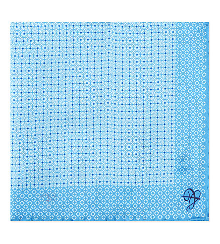 CANALI Dotted blocks silk pocket square (Aqua