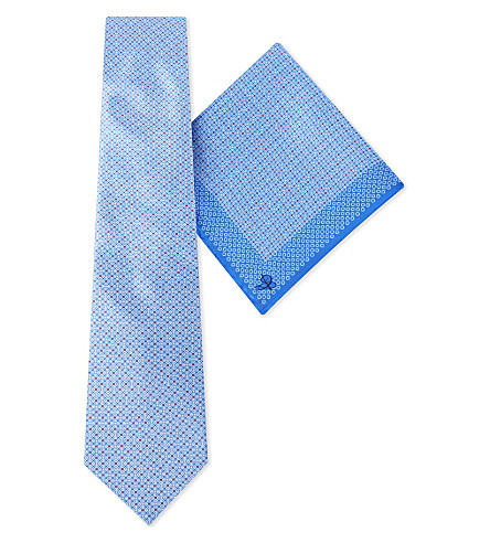 CANALI Dotted block silk pocket square and tie set (Blue