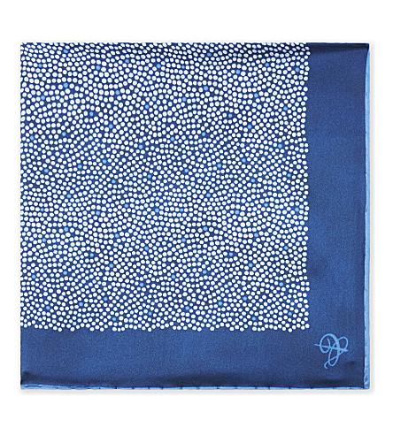 CANALI Polka-dot silk pocket square (Blue