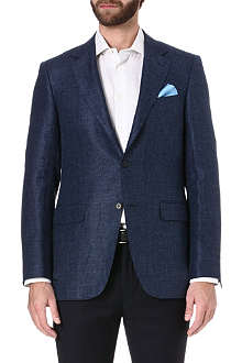 CANALI Single-breasted linen and wool-blend suit jacket