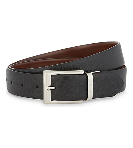 CANALI Two-tone reversible leather belt (Brown/tan