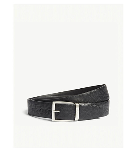 CANALI Reversible leather belt (Black+black