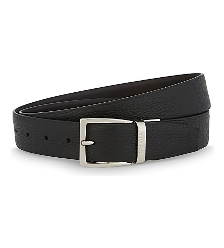 CANALI Two-tone reversible leather belt (Brown