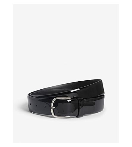 CANALI Patent calf-leather belt (Black
