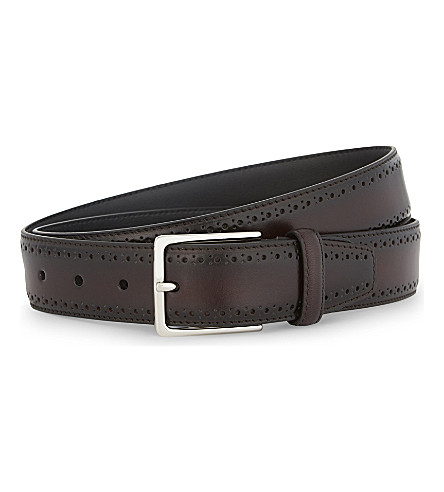 CANALI Perforated leather belt (Burgundy