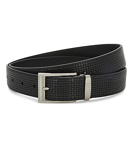 CANALI Woven leather belt (Black