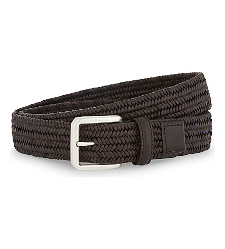 CANALI Pleated leather elasticated belt (Brown