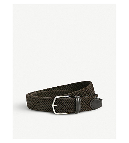 CANALI Leather-trim woven belt (Brown