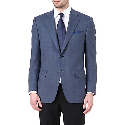 CANALI Textured single-breasted suit jacket (Blue