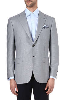 CANALI Houndstooth silk-blend suit jacket