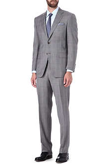 CANALI Checked single-breasted wool-blend suit